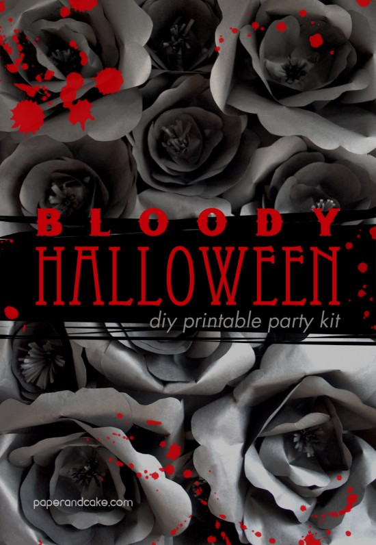bloody halloween decorations by paper and cake - Bloody Halloween Decorations