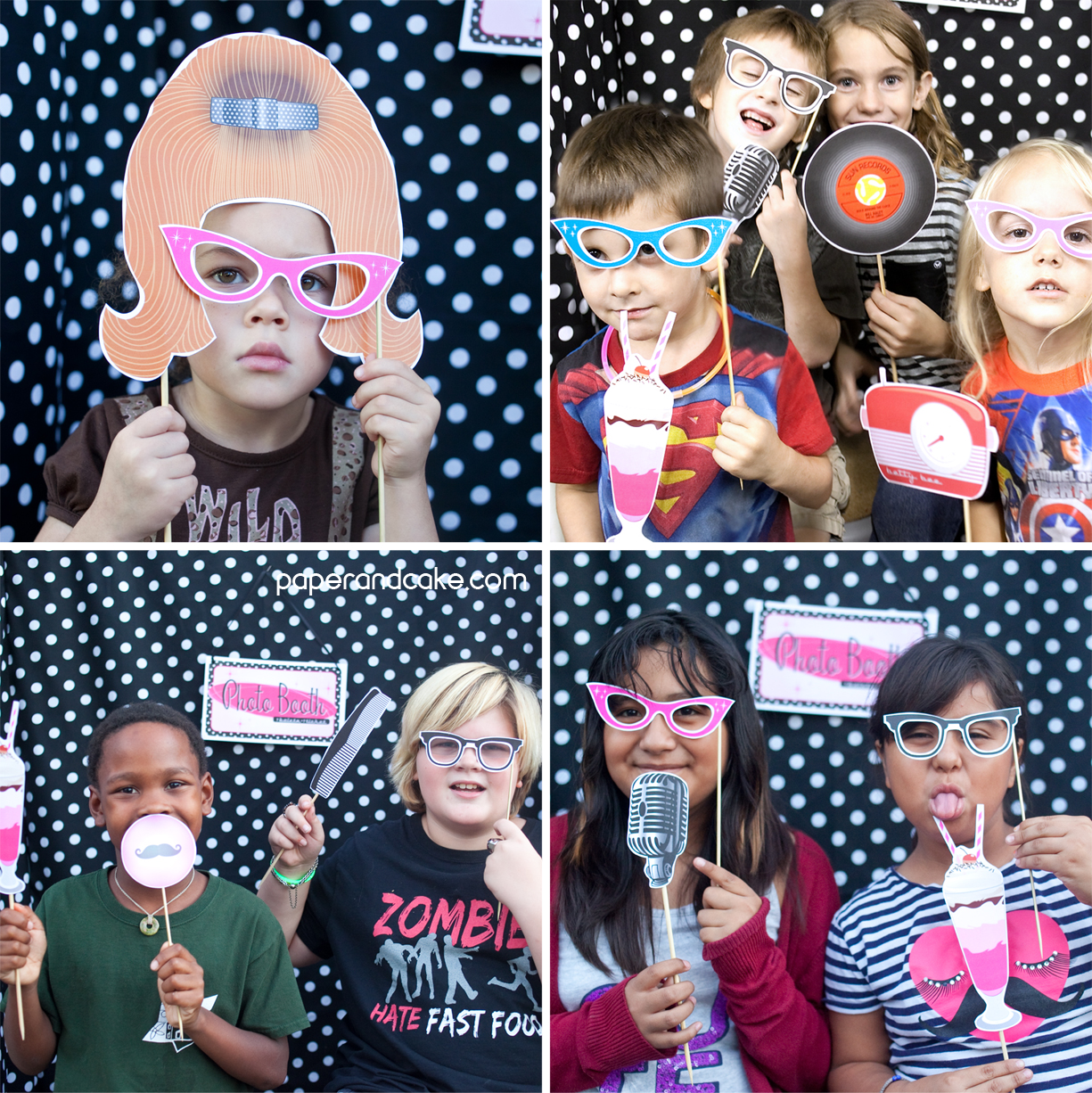 1950s Style Printable Photo Booth Props Paper And Cake