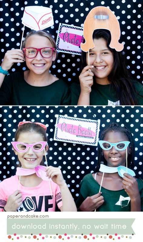 50s Printable Photo Booth Props Paper And Cake Paper And