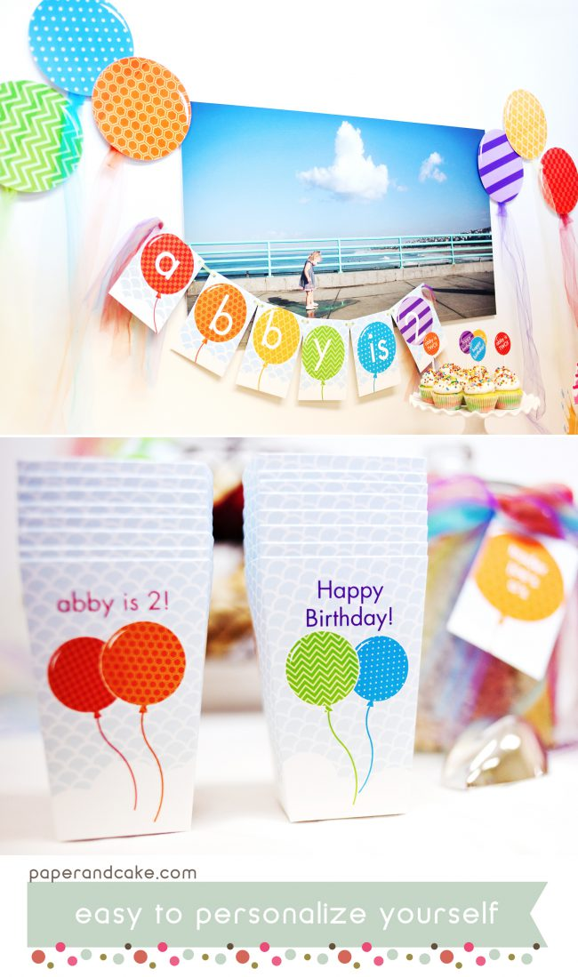 Rainbow of Balloons printable party