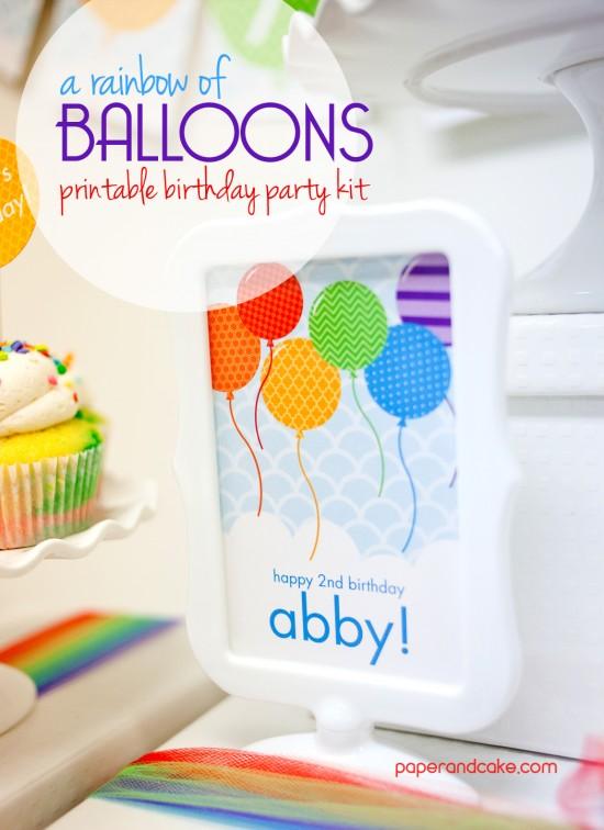 Balloon Printable Birthday Kit with invitation and banner