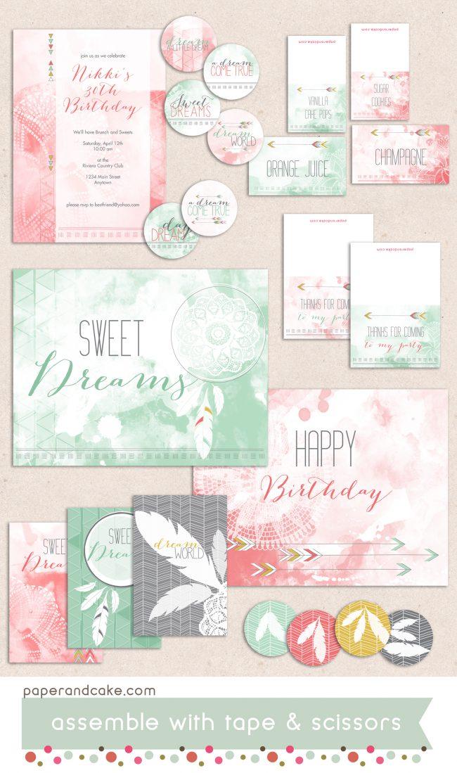 bohemian printable party set