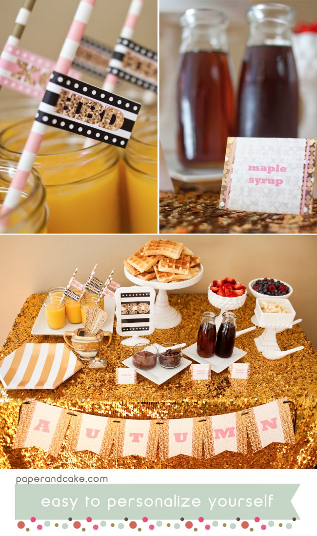 Pink and Gold Glitter Printable Party