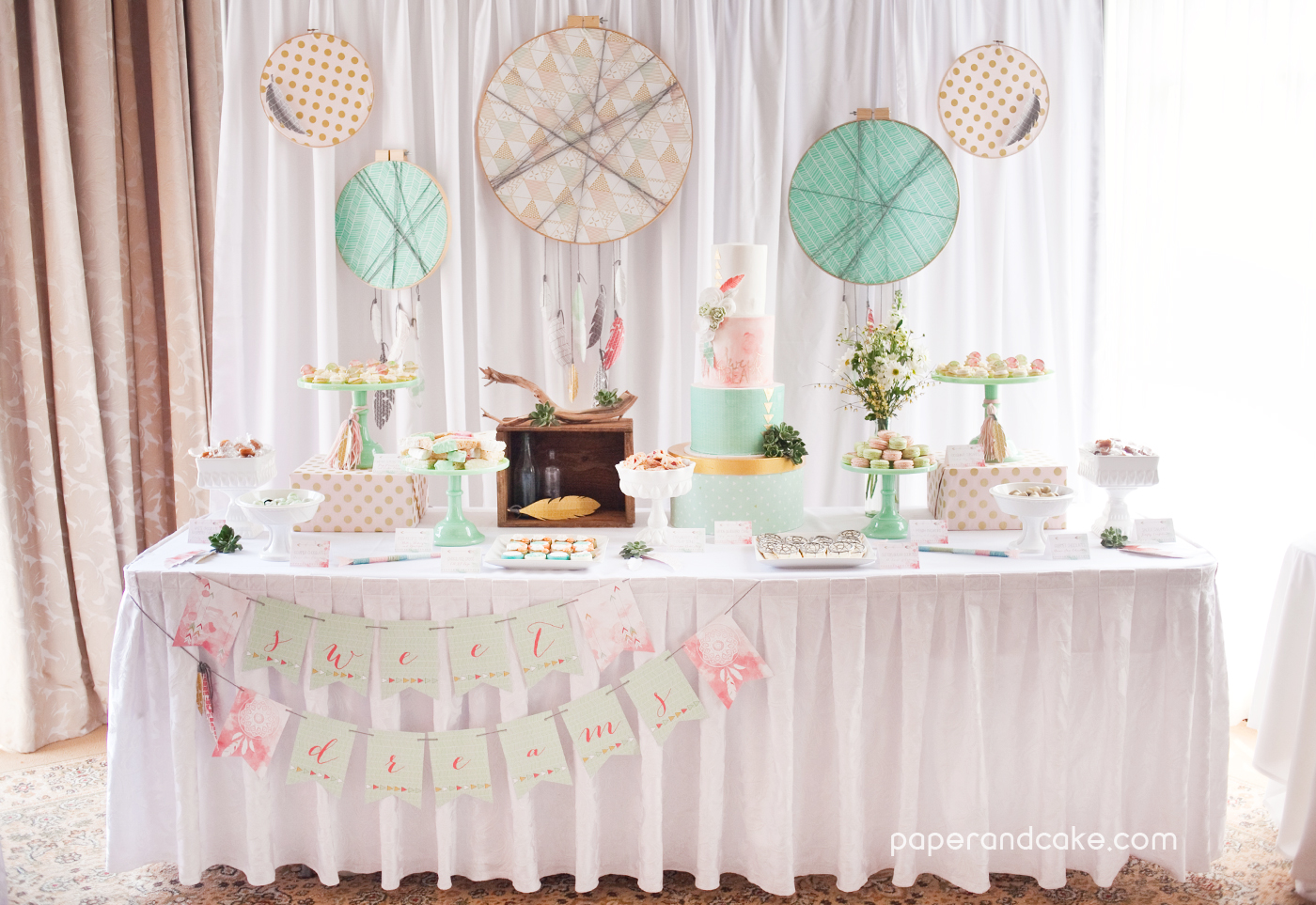 Bohemian Printable Party Paper And Cake
