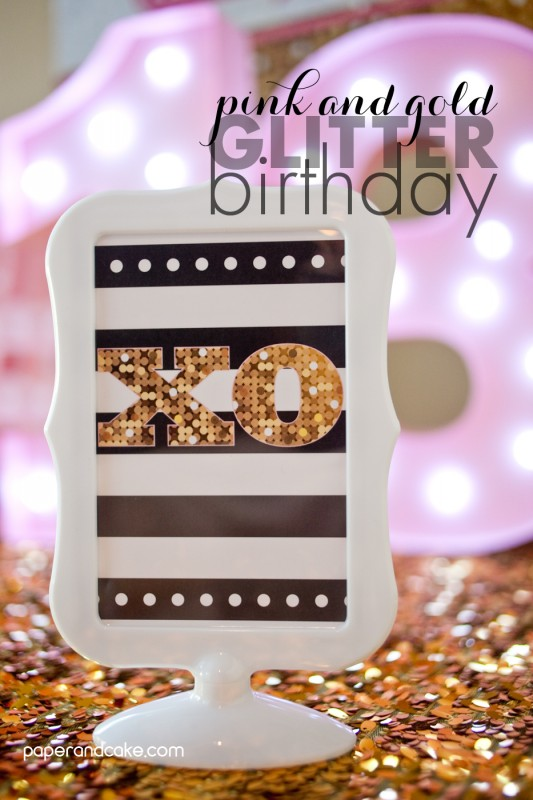 Pink and Gold Glitter Birthday decorations