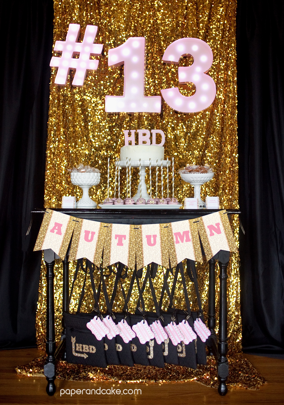 Pink And Gold Glitter Birthday Paper And Cake Paper And Cake