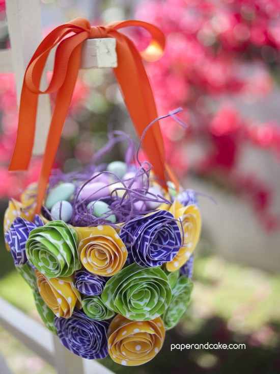 paper crafted Easter baskets