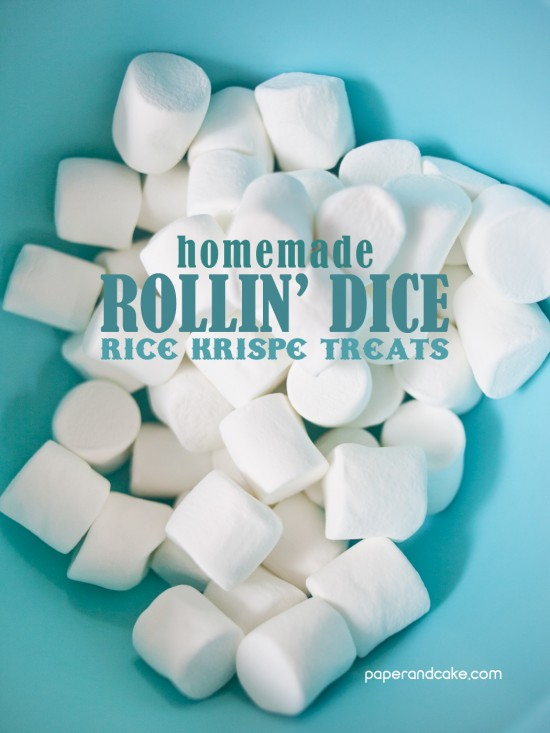 themed rice krispie treats by paper and cake