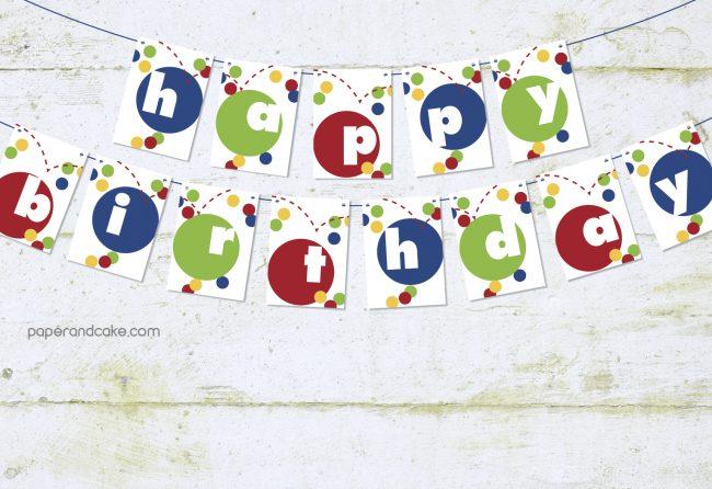 Bouncy Ball Happy Birthday Pennant Banner