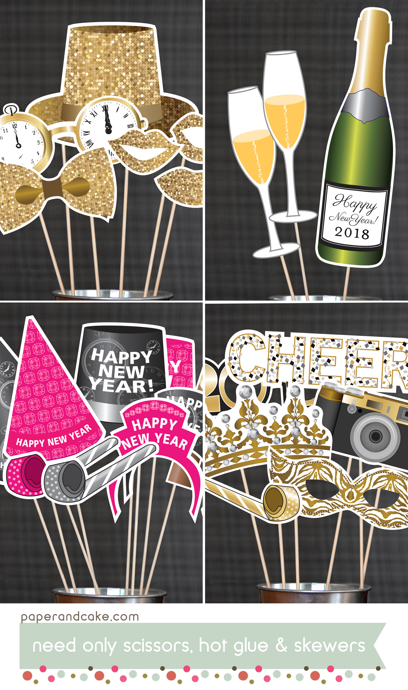 Happy New Year Printable Photo Booth Props Paper And Cake Paper