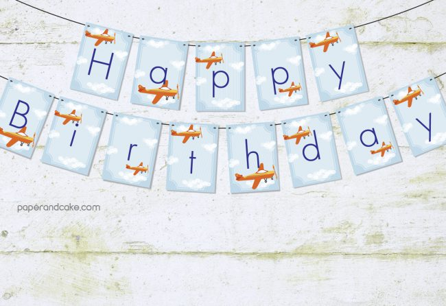 airplane happy birthday pennant banner