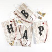 Baseball Happy Birthday Pennant Banner