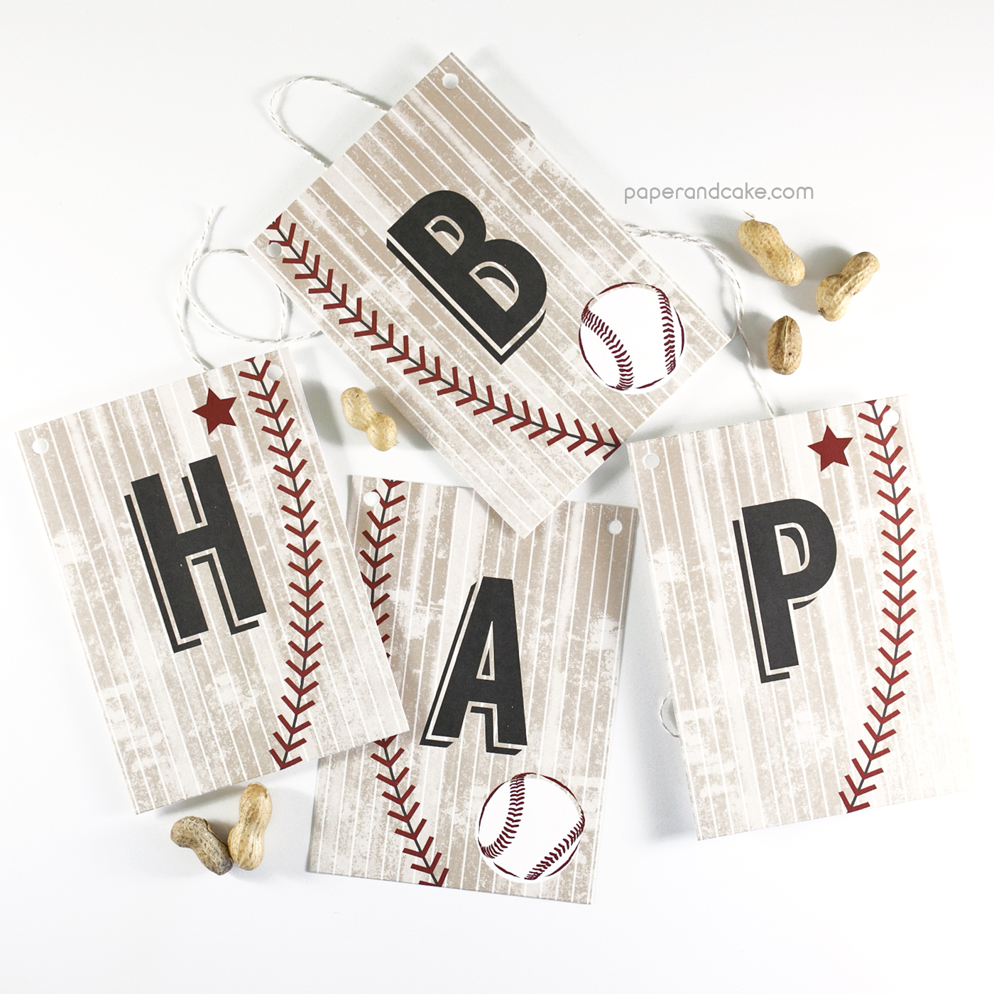 baseball happy birthday pennant banner paper and cake paper and cake