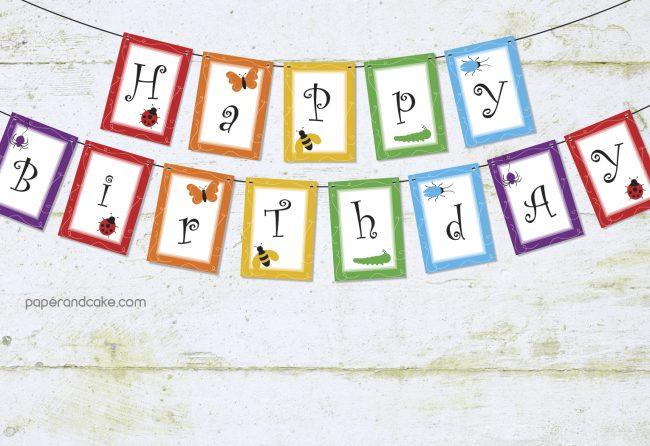 Rainbow of Bugs Happy Birthday Pennant Banner