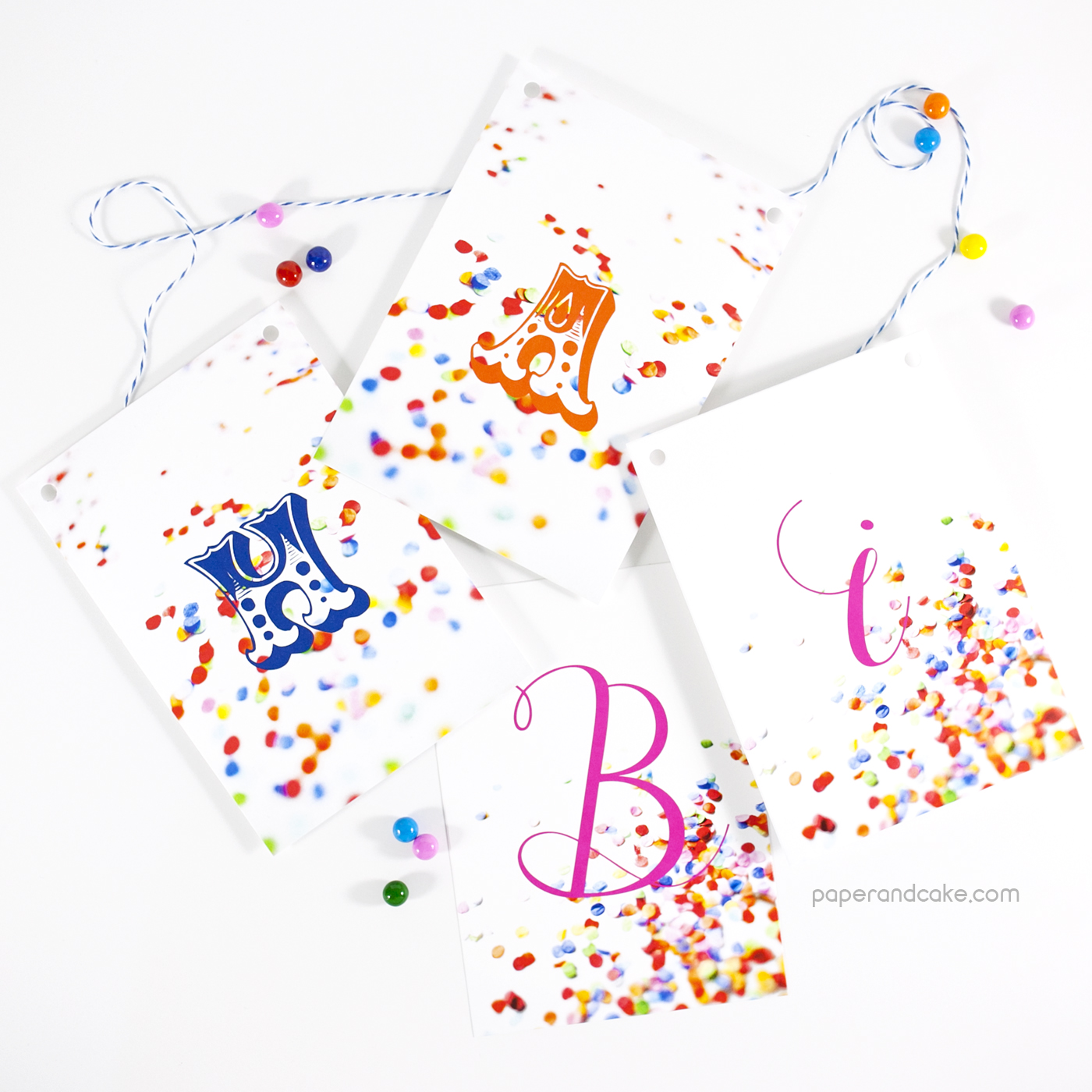 confetti happy birthday pennant banner paper and cake paper and cake