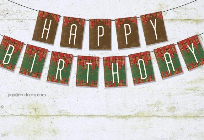 outdoorsman happy birthday pennant banner