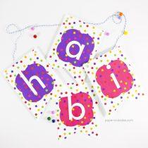 Polka Dot Happy Birthday Pennant Banner