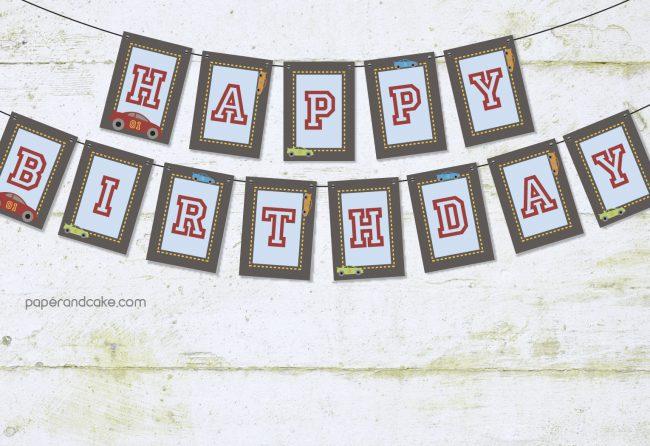 Race Car Happy Birthday Pennant Banner