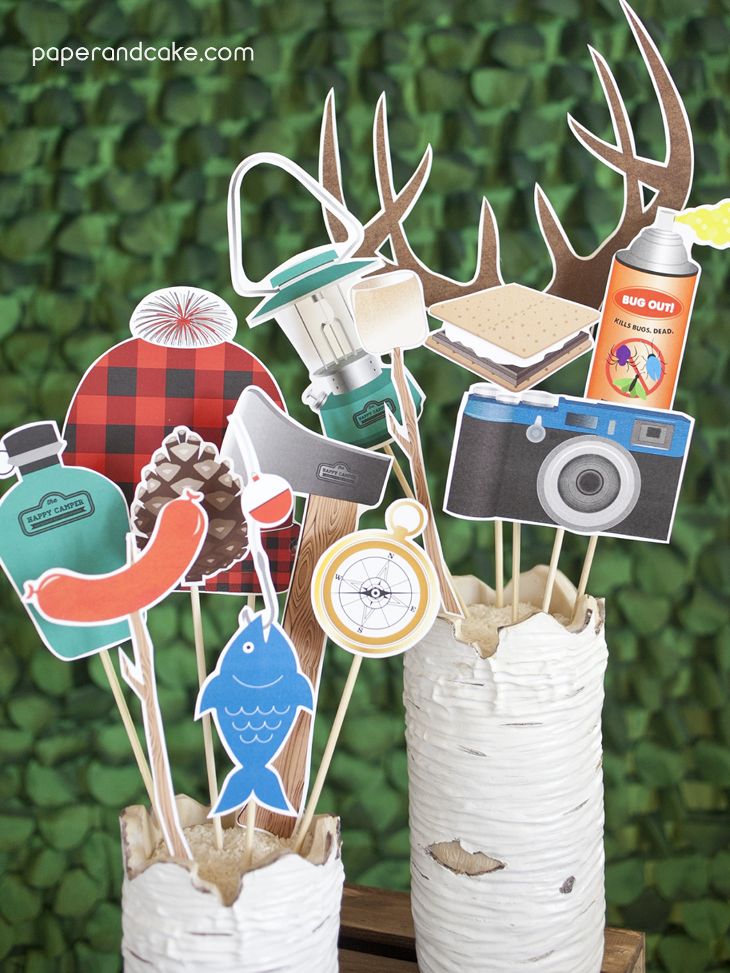 Camping Photo Booth Props Diy Kit Paper And Cake Paper