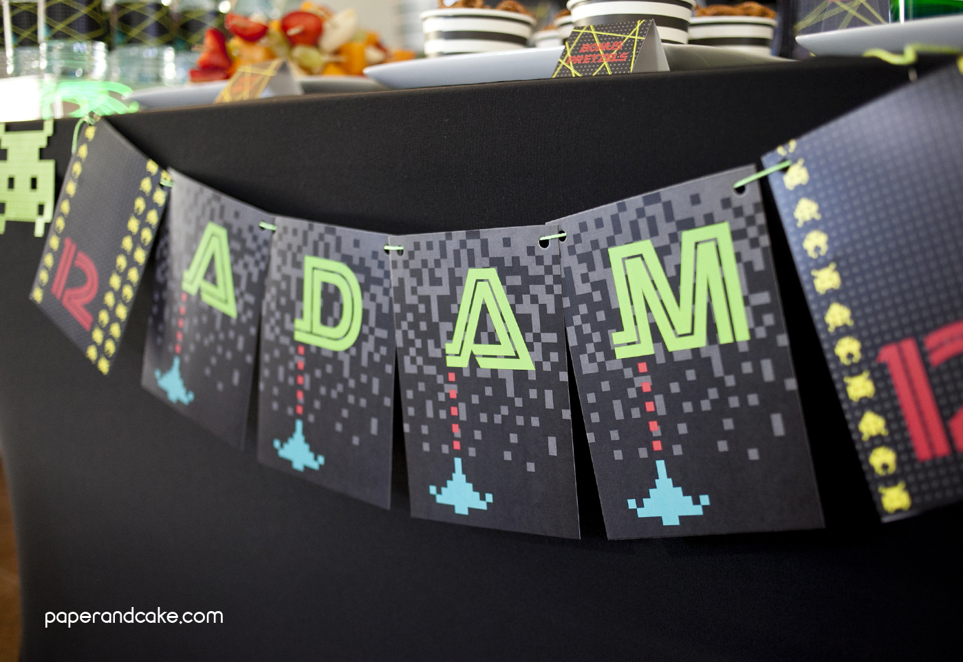 Video Game Printable Birthday Party Paper And Cake Paper