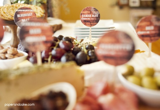 wine and cheese party cheese tags