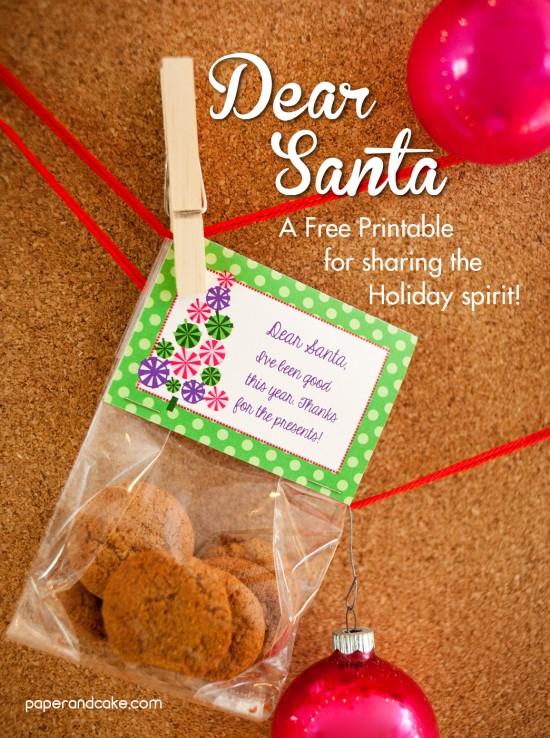 Dear Santa printable bag topper
