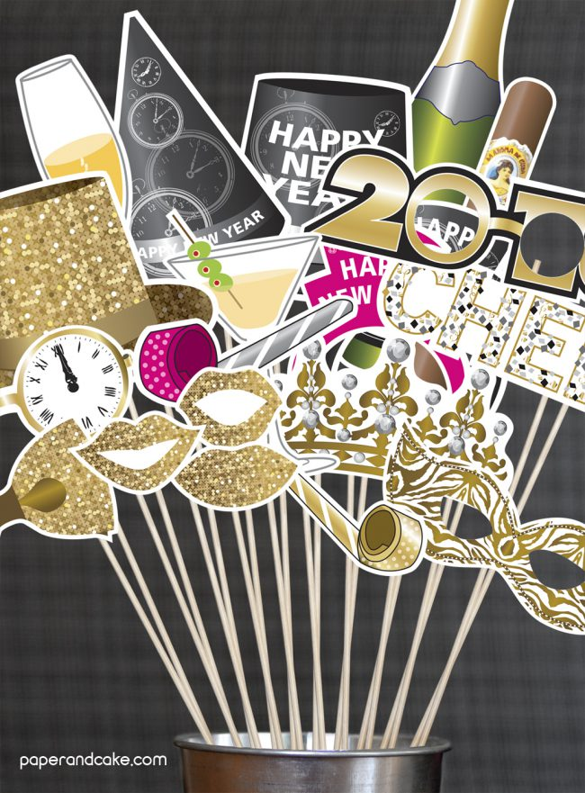 Happy New Year photo booth prop kit