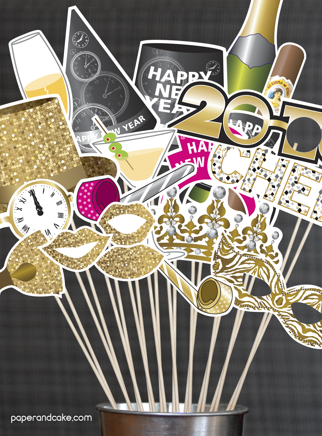 Happy New Year Photo Booth Props Diy Kit Paper And Cake