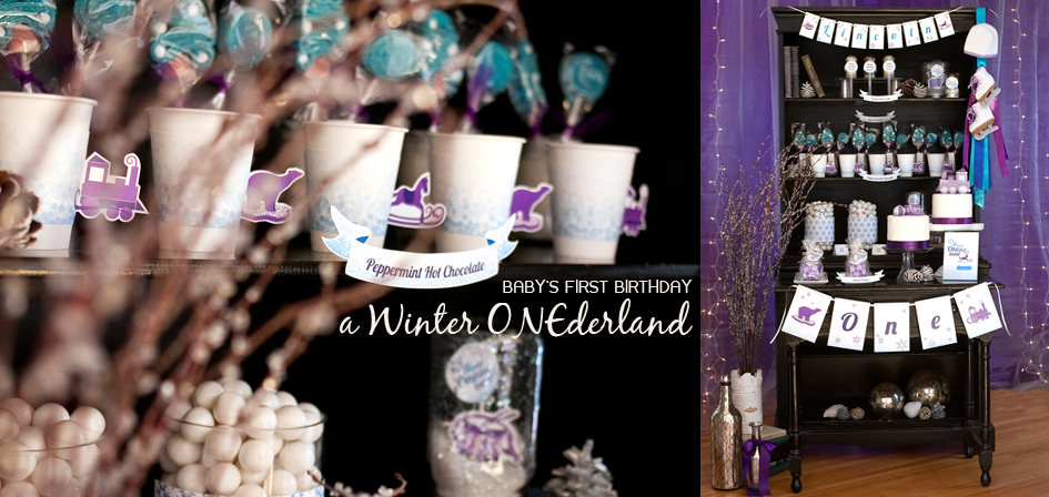 Winter ONEderland Printable decorations by Paper and Cake