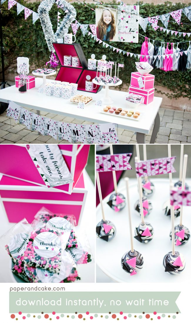 modern marbled printable party