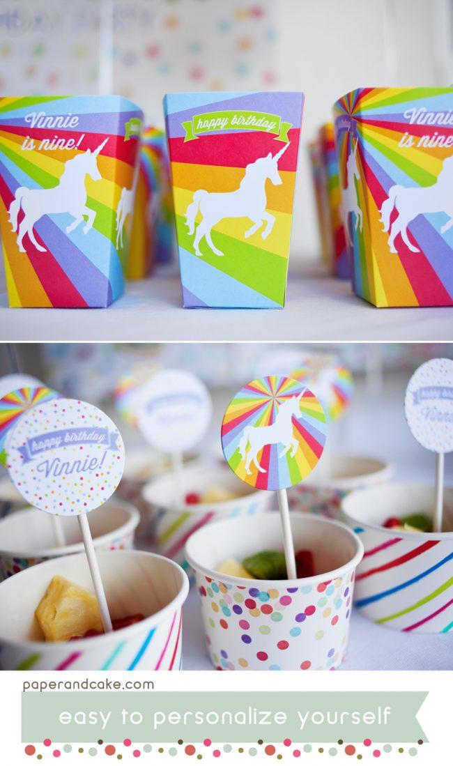 rainbows and unicorns printable birthday party