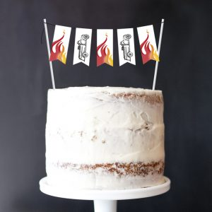 Fire Truck Mini-Bunting Cake Topper