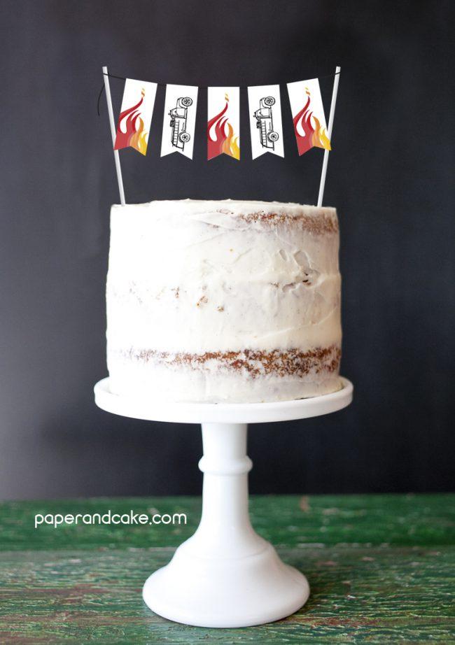 Fire Truck Mini-Bunting Cake Topper