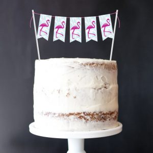 Flamingo Mini-Bunting Cake Topper