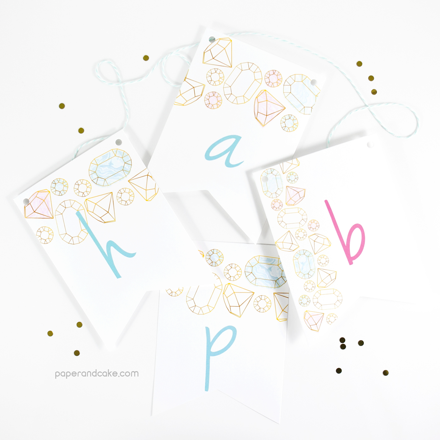 gemstones happy birthday pennant banner paper and cake paper and cake