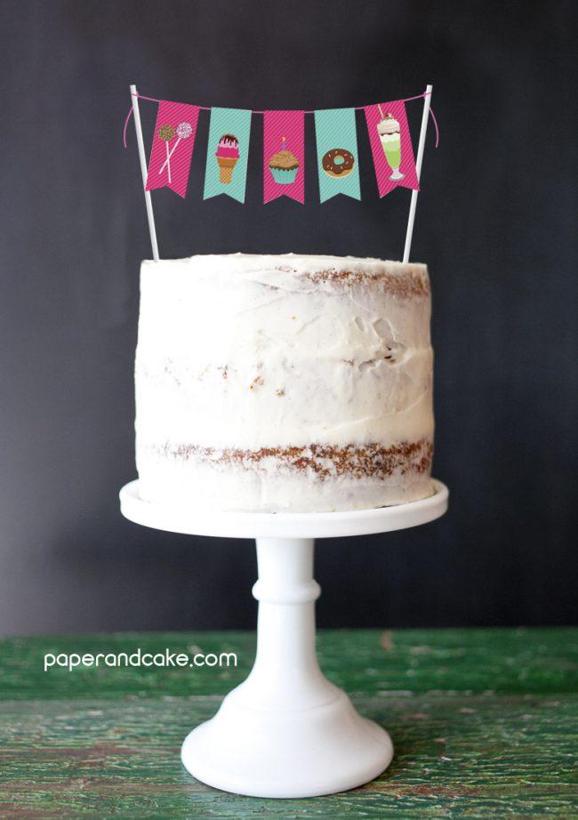Sweet Shoppe Mini-Bunting Cake Topper