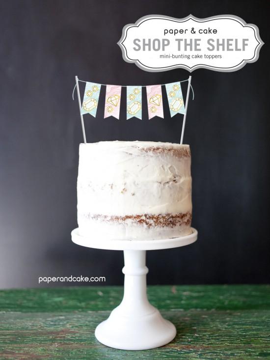 mini-bunting cake topper