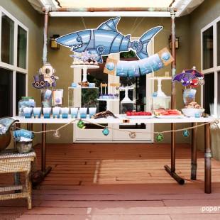 marine steampunk printable birthday party