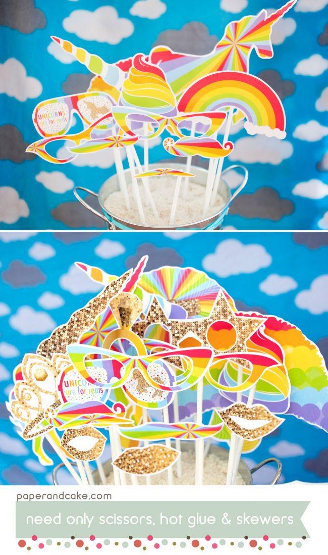 rainbow unicorn printable photo booth props