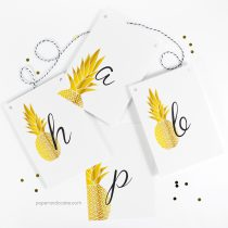 Pineapple Happy Birthday Pennant Banner