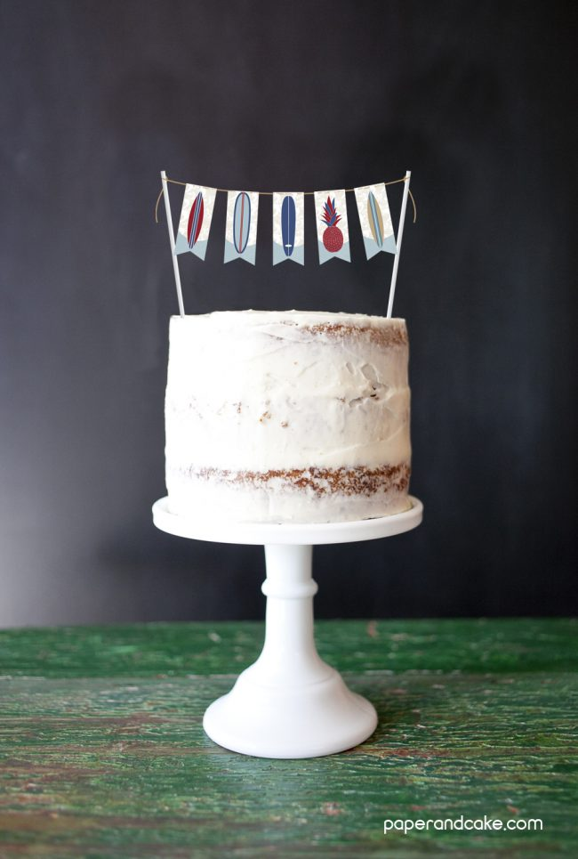 Surf's Up Mini-Bunting Cake Topper