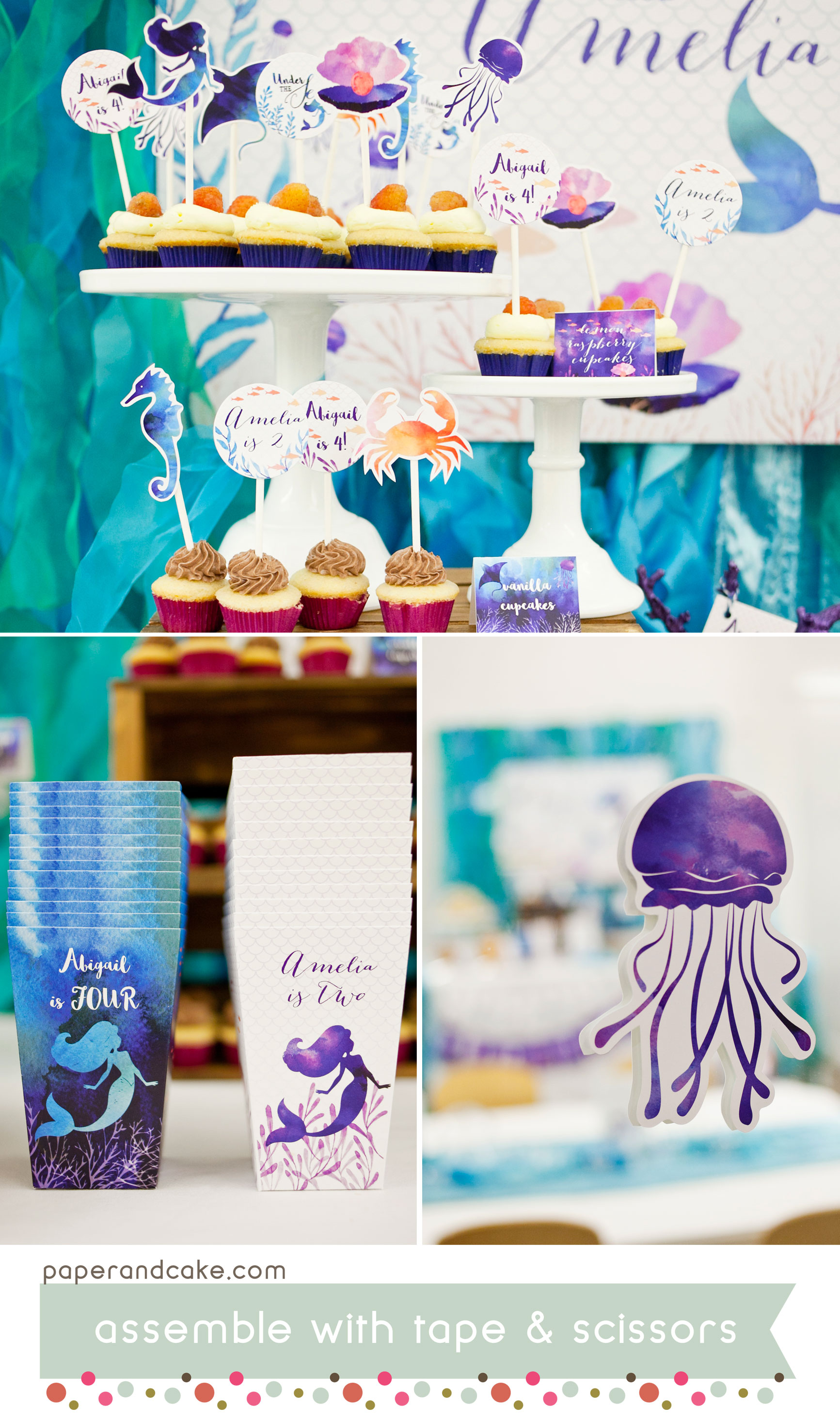 photograph about Under the Sea Printable named Mermaid Underneath the Sea printable birthday bash