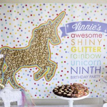 Rainbows and Unicorns Birthday Backdrop Banner