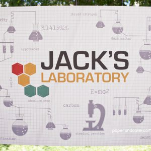 Science birthday backdrop banner