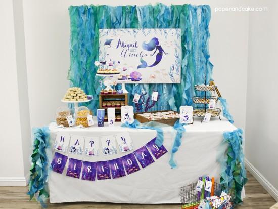 Mermaid Under the Sea Birthday Backdrop Banner