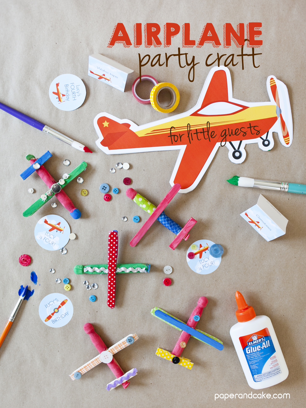 Airplane Birthday Party Craft - Paper and Cake Paper and Cake