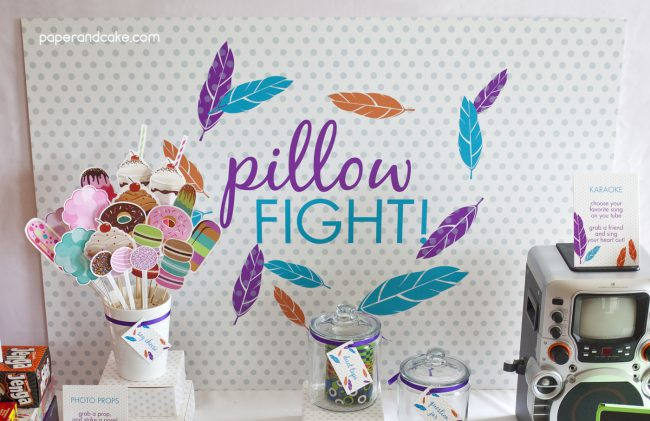 Pillow Fight Birthday Backdrop Banner