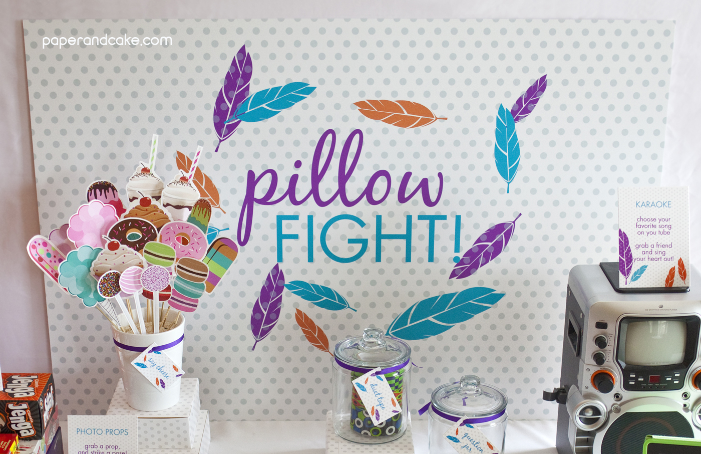 Pillow Fight Birthday Backdrop Banner - Paper and Cake Paper and Cake