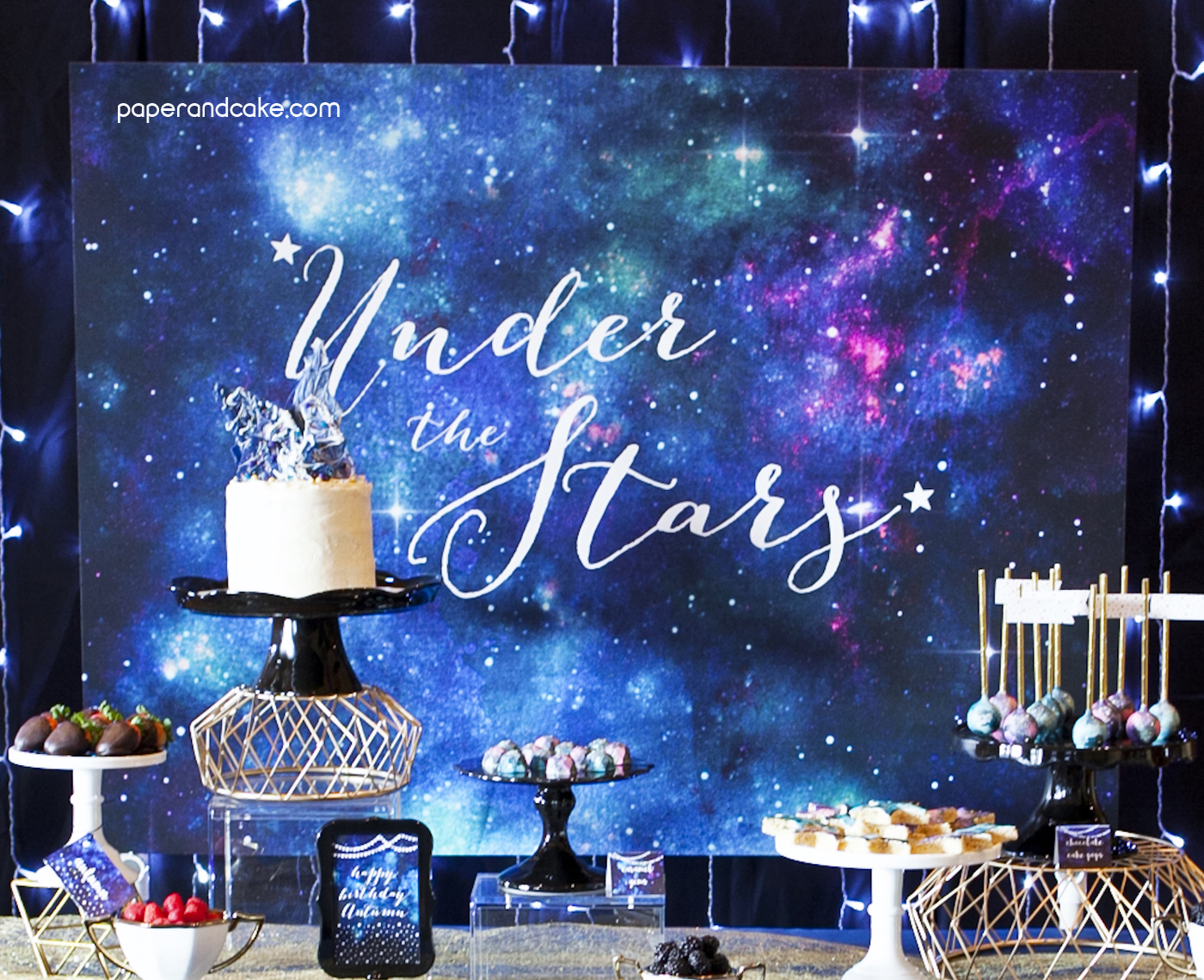 Under The Stars Galaxy Backdrop Banner Paper And Cake