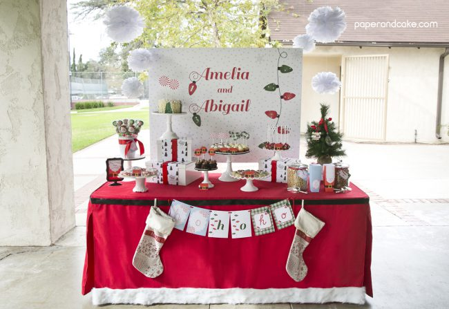 Peppermint and Plaid Party Backdrop Banner